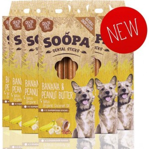 Soopa Dental Sticks banana&peanut butter 100gram-fleur's pet shop-vegetarische snacks voor honden