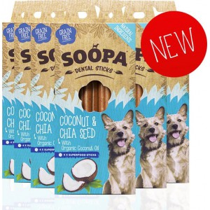 Soopa Dental Sticks coconut&chia seed 100gram-fleur's pet shop-vegetarische snacks voor honden